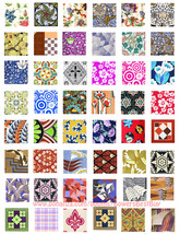 "1""squares digital download collage sheet vintage fabric textiles kimono ... - $3.99"