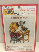 """Suzys Zoo Cross Stitch Kit  2001 Janlynn """"Thinking of You"""" Complete & Sealed - $4.99"""