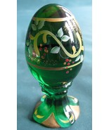 Fenton 2000 Limited Edition Egg on Sculpted Base. Green with Hand Painte... - $26.00