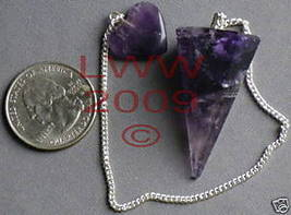 6-sided Amethyst Gemstone Scrying Pendulum & heart  - $6.85