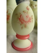 Fenton ware #5140 Egg in Custard  w/Hp Pink [Coral Red] Rose - $15.00