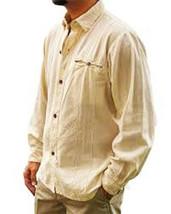 Men's Casual Cotton Beach Long Sleeve Summer Wedding Button Down Shirt Tan S