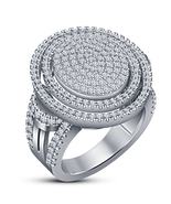 White Gold Plated Pure 925 Silver Round Cut Diamond Halo Engagement Band... - $138.98