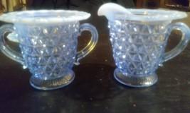 Imperial Depression Glass Katy Blue Lace CREAM & SUGAR Bowls Great Shape! - $58.90