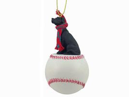 Great Dane Black w/Uncropped Ears Baseball Ornament - $17.99