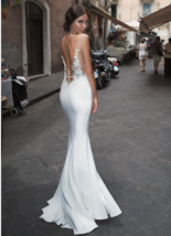 Backless Illusion Mermaid Wedding Dresses Lace Side Split image 3