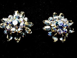 Vintage Pair Glass Bead Iridescent Blue Clip On Earrings Costume Fashion... - $14.66
