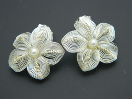 GERMANY White Faux Pearl Silver Tone Wire Flower Clip-On Earrings Vintage - $19.79