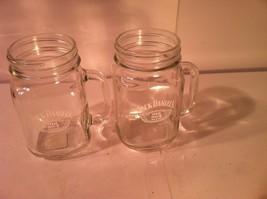 (2) JACK DANIEL'S--CANNING JAR GLASSES--HANDLE--OLD NO. 7 BRAND-SHIPS FR... - $24.23