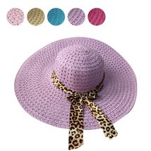 Women Straw Sun Hat With Leopard Ribbon Wide Brim Floppy Foldable Cap Summer Bea image 6