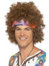 Short Brown Afro Wig, Hippy Afro, 1960's Flower Power Fancy Dress Accessory - $13.97