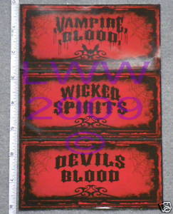 3 small-sized Halloween Potion Bottle Sticker Labels
