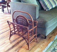Vintage Bamboo Rattan Magazine Rack Stand Records Holder Tiki Cottage Tr... - $74.24