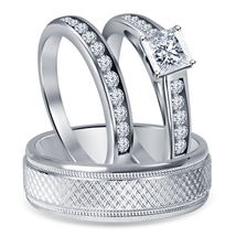 14K White Fn. 925 Silver Princess Cut White Sim Diamond Engagement Trio Ring Set - $147.99