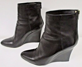JIMMY CHOO Black Mayor Leather Wedge Ankle Boots with Back Zipper Closure - 40.5 - $227.69
