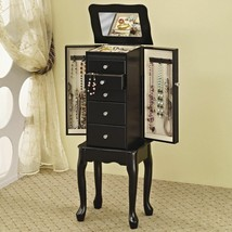 Black Finish Wood Jewelry Armoire Storage Cabinet 5 Drawers Mirror Organ... - $143.54
