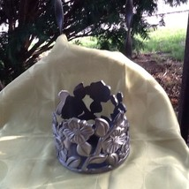 Bath & Body Works Heavy Pewter Flowers  Metal Candle Holder For Large Candle - $18.00