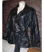 Valerie Stevens Black Butter Soft Leather Jacket Coat w Belt Small Medium Lamb - $25.00