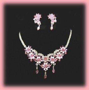 Floral Daisy Sim. Pink Topaz Crystals Necklace & earring Set Bonanza
