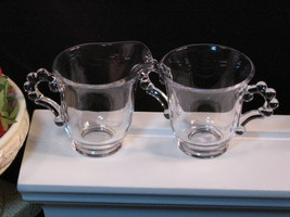 Imperial Candlewick Individual Cream and Sugar Set, Vintage Elegant Glass - $22.99