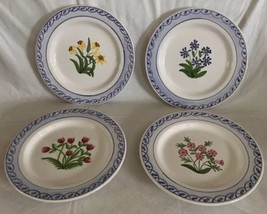 4 Jay Willfred Andrea by Sadek Portugal Wildflower Salad Luncheon Plates... - £30.55 GBP