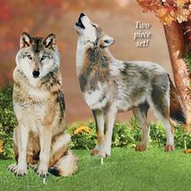 Wolf Decorative Garden Stakes Set, Photorealistic Outdoor Décor, 2 pc - $18.46