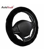 AutoYouth® Premium Pure Sheepskin Wool Steering Wheel Cover Black Car Cover - $17.31