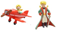 The Little Prince with sword and Little Prince in airplane figurine set Plastoy