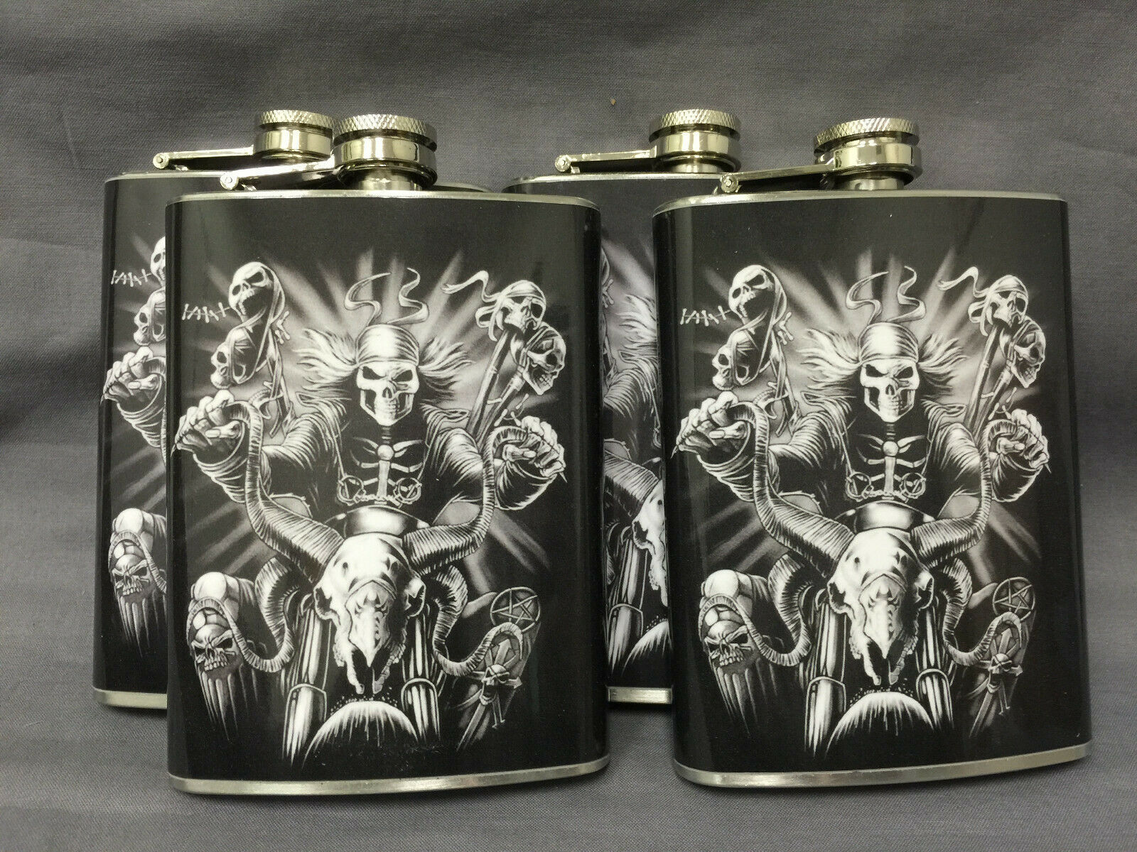 Set of 4 Skull D7 Flasks 8oz Stainless Steel Drinking Whiskey