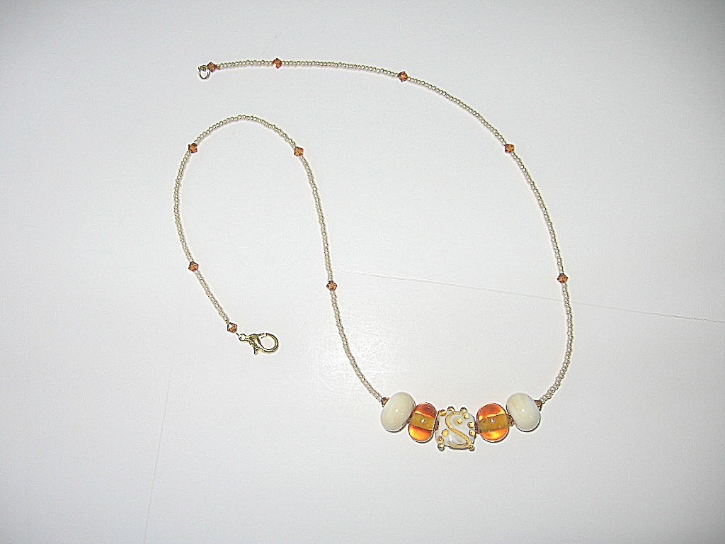 Beautiful Handmade Lampwork Bead Necklace--Scrollwork Bonanza