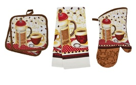 COFFEE THEME KITCHEN SET 5-pc Towels Potholders Mitt Brown Red Cotton Bi... - $14.99