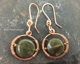 Handmade green labradorite earrings: copper circle frame wire wrapped - $28.00
