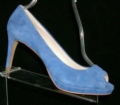 Vince Camuto 'Kirsti' blue suede round peep toe slip on platform heels 9M 7032 - $33.30