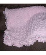 Baby's Pink Hand Crocheted Ruffled Baby Blanket - $50.00