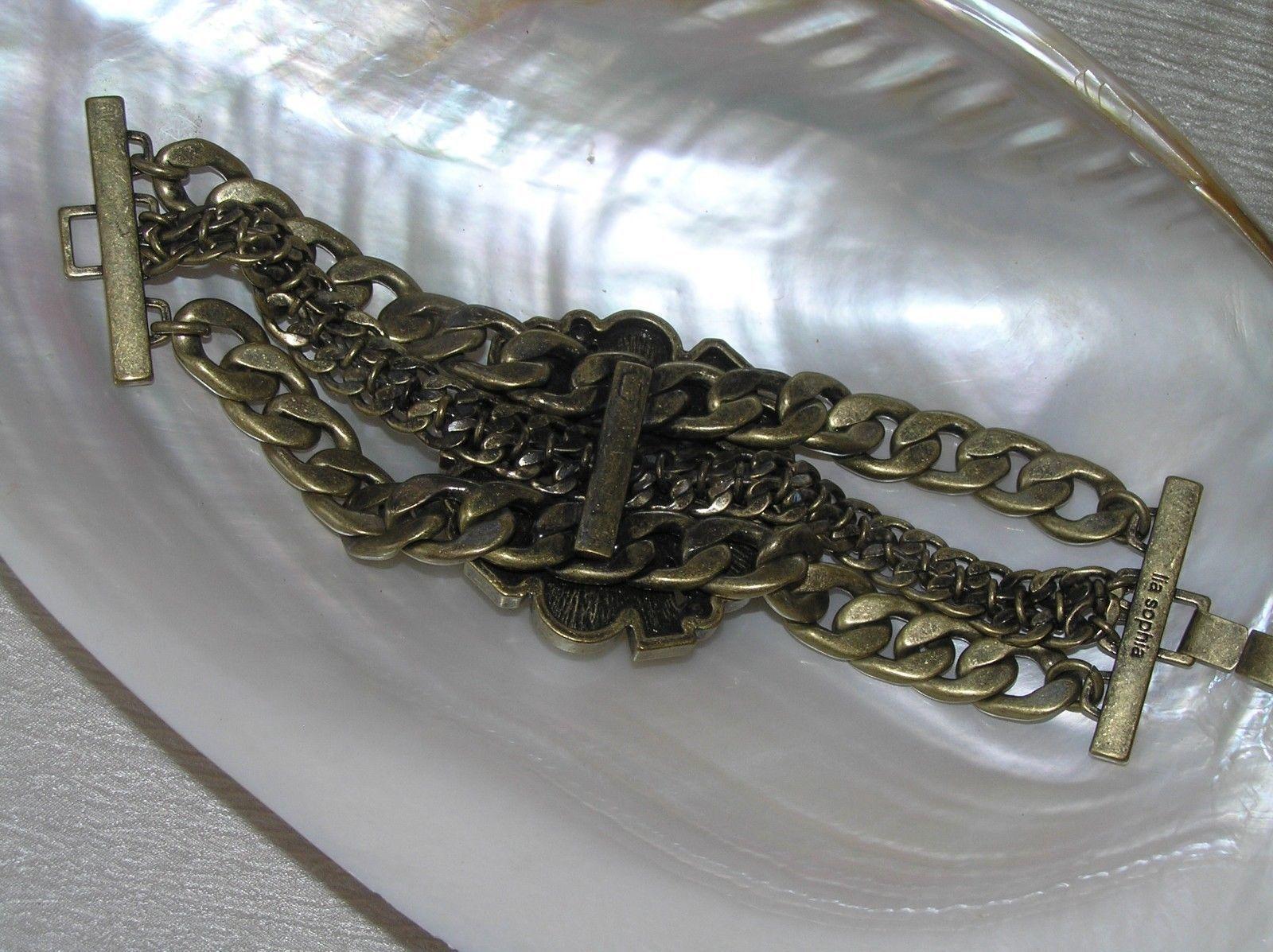 Estate Lia Sophia Marked Wide Antique Goldtone Multistrand Chain with Bronze &