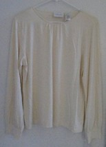 LIZ CLAIBORNE WOMEN'S Top Size Large Ivory Long Sleeves Stretch MSRP $40... - $23.22