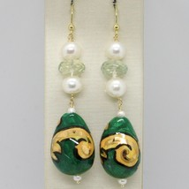 Yellow gold earrings 750 18k drop FW pearls hand painted made in Italy - $371.35