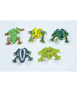 MIXED LOT OF 5 REALISTIC FROGS VINTAGE MINI COLORFUL ASSORTED FIGURE TOY... - $8.21
