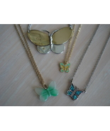 Butterfly Necklace Lot Lucite Turquoise Cloissone Goldtone S - $12.99