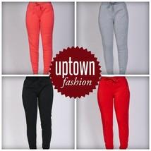 Women's  New Riflessi Slim Fit Poly Cotton Sweat Pants Zipper Pockets Joggers - $19.99
