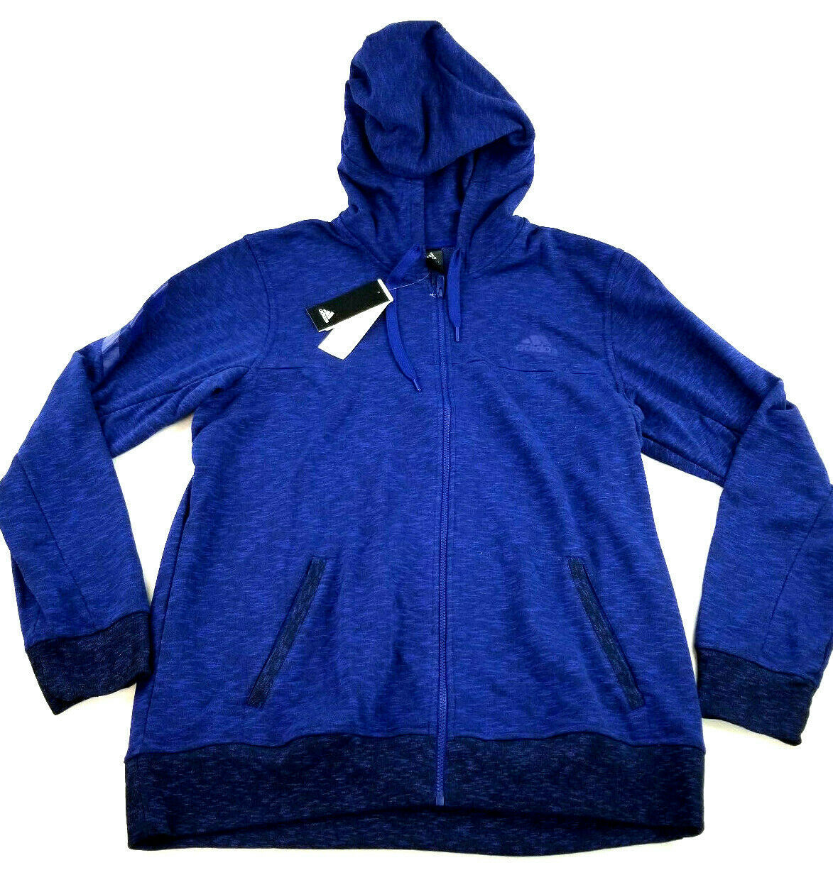 new ADIDAS men jacket hoodie full zip CW9658 blue 2XL MSRP $75 image 1