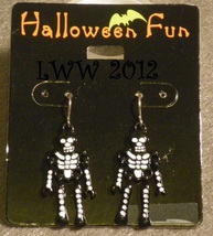 Black And White Skeleton Halloween French Hook Dangly Earrings - $6.99