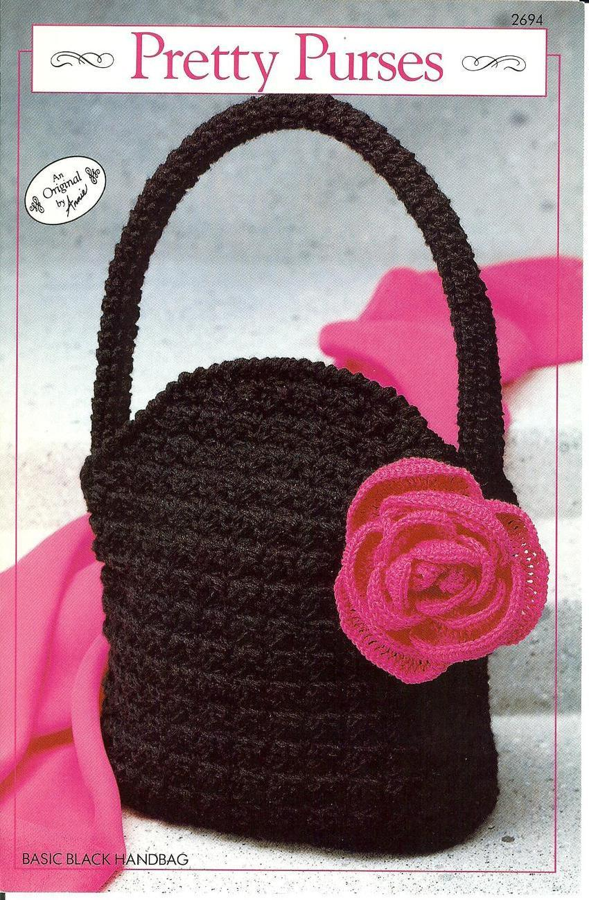 Annie's~Pretty Purses~Basic Black Handbag~Crochet Leaflet Annie's