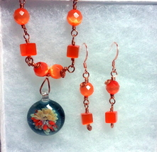 Copper Wire Wrapped Orange Fiber Optics and Floral Glass Necklace Set image 6
