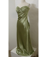 CHRISTIES COLLECTION Gown 40's Style Green Ruched Strapless Rhinestone N... - $359.99
