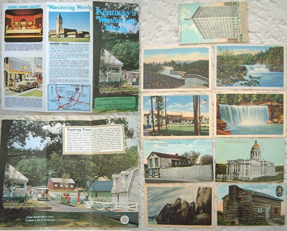 Lot Vintage Kentucky Linen Postcards Highway Maps Brochures