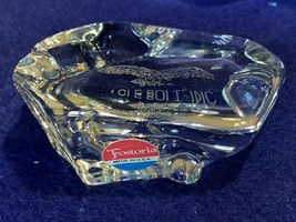 Fostoria advertising crystal rock paperweight, original label for Eagle ... - $14.84