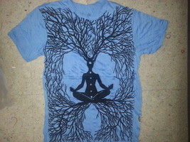 Men T Shirt short sleeve cotton Tree of Life Om Floral cotton yoga M New Sure - $18.80