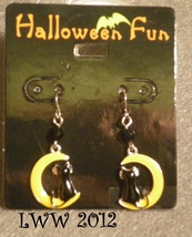 Black Cat on a Yellow Crescent Moon Halloween French Hook Dangly Earrings - $6.99