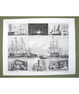 GUNSHIPS on Parade Firing Salut Night SIgnals - 1844 Original Steel Engr... - $19.09